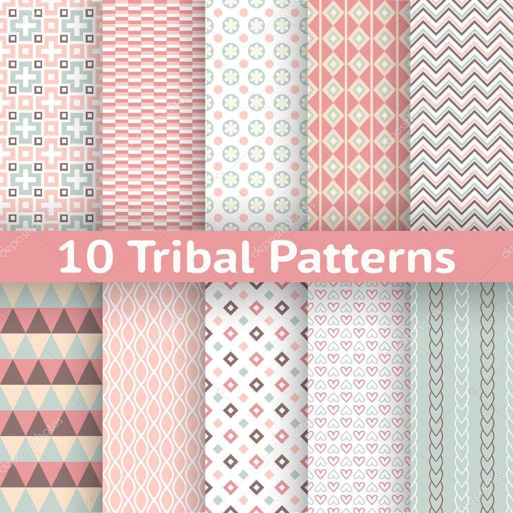 10 Tribal vector seamless patterns. Endless texture