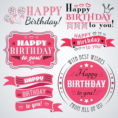 Happy birthday greeting card collection in holiday design. Retro vintage style. Typography letters font type. Vector illustration for your pretty design. Pink, white and black colors. clip art vector