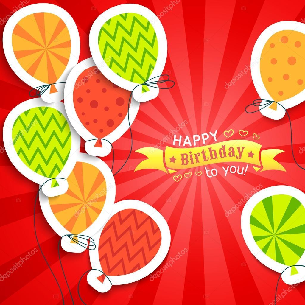 vtipné pohlednice k narozeninám Všechno nejlepší k narozeninám vtipné Pohlednice s balonky. vektor  vtipné pohlednice k narozeninám