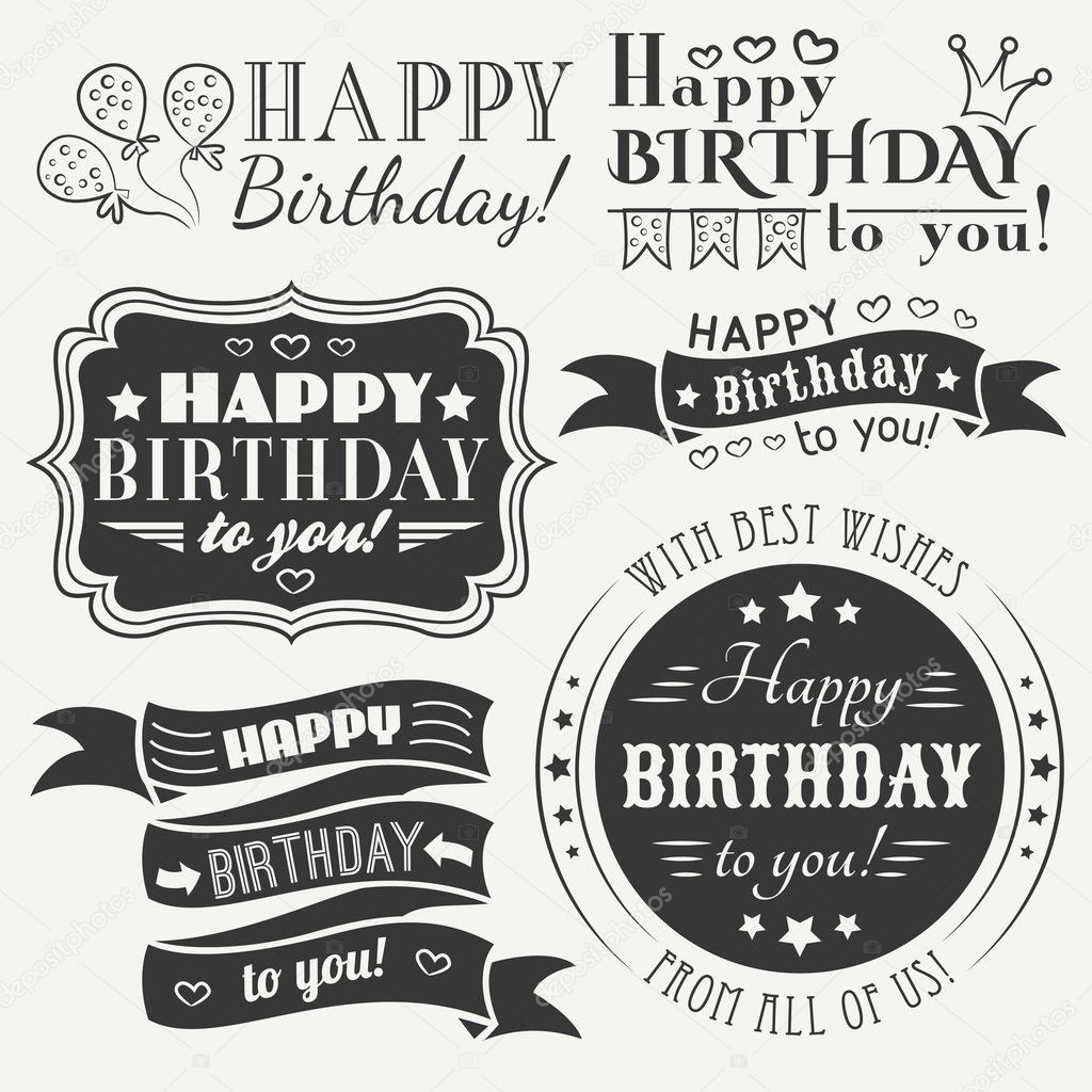 Happy Birthday Greeting Card Collection In Holiday Design Stock