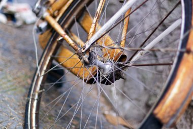Close up of old part bicycle