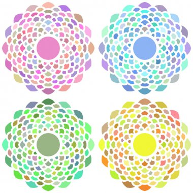 Set Of 4 Vector Circle Floral Ornament For Design