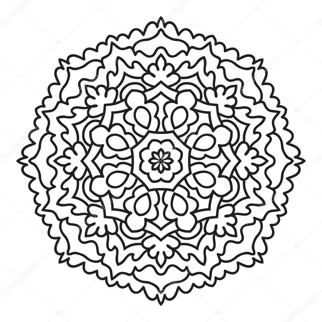 Mandala para pintar. Vector círculo ornamento, elemento de diseño ...
