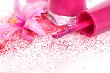 Pink nail polish background.