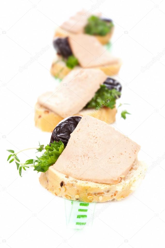 Canape con patè. lussuosa sala da pranzo francese — Foto Stock ...