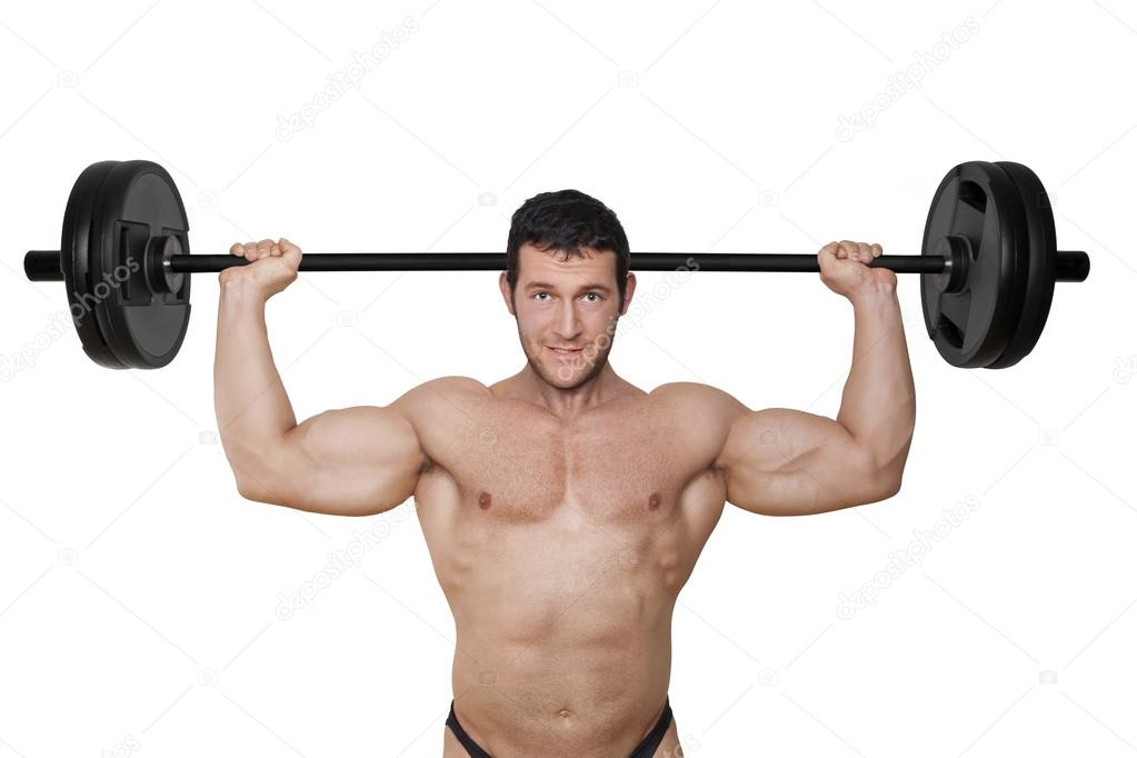 Bodybuilder Holding Weights In Hand Stock Photo - Image of