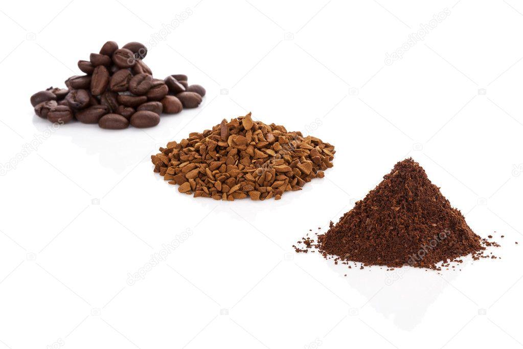 caf en grains caf moulu et le caf instantan photographie eskymaks 28095903. Black Bedroom Furniture Sets. Home Design Ideas