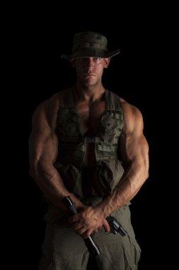 Proud soldier standing.