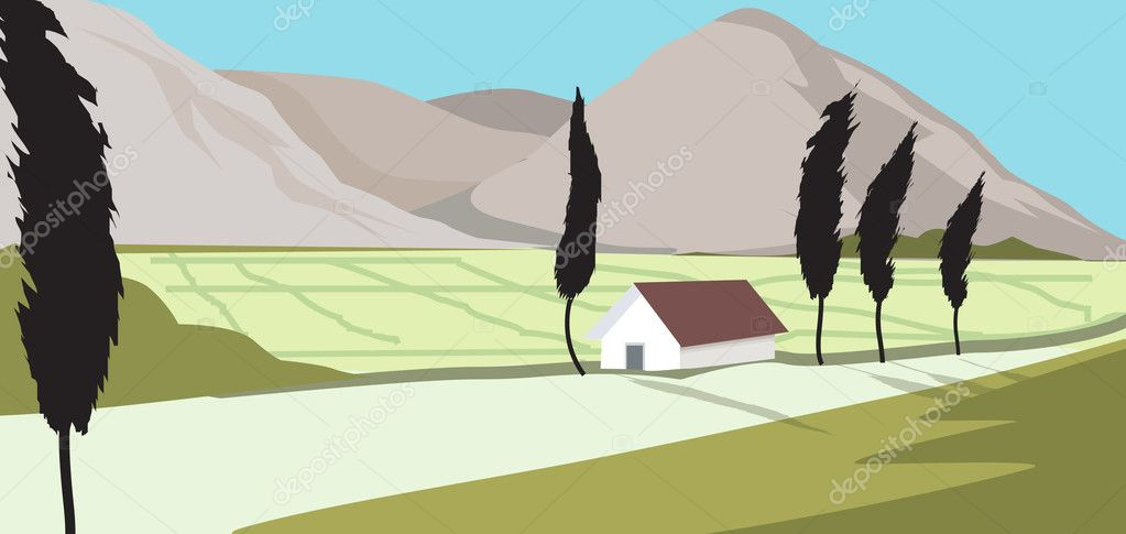 Agricultural field and farm house