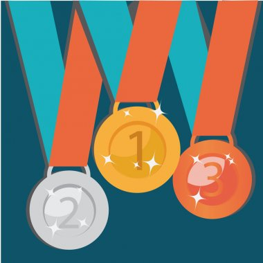 Abstract Golden, Silver, Bronze Medals. Vector Set