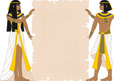 Egyptian Woman and Man Holding Papyrus