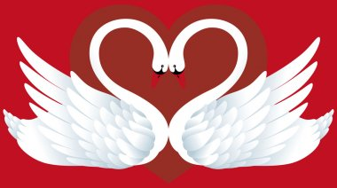 Abstract background with two swans and heart. clip art vector