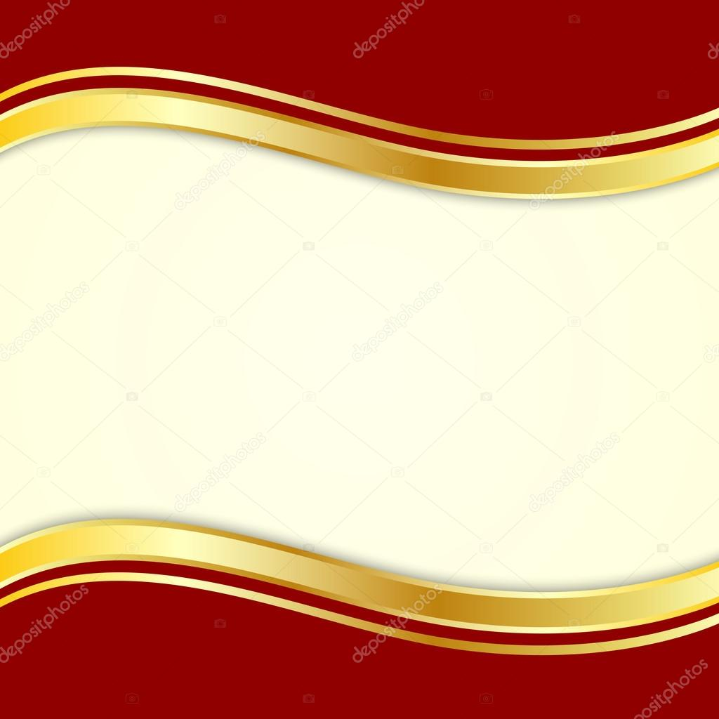 Red background with gold ribbon for text