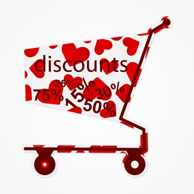 Label discount shopping cart with hearts. Modern design element.