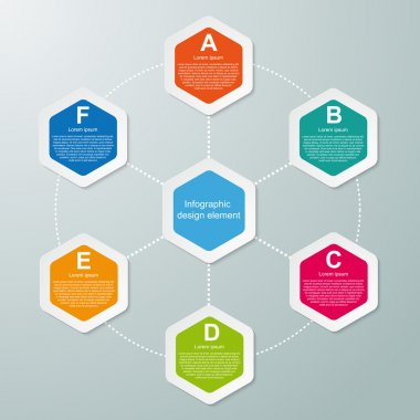 Abstract hexagon infographics template. Vector illustration.