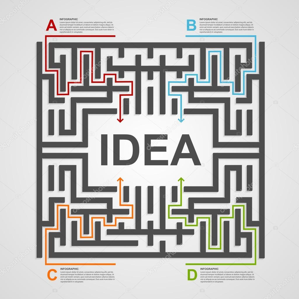 concepto de infografía laberinto. plantilla de diseño — Vector de ...