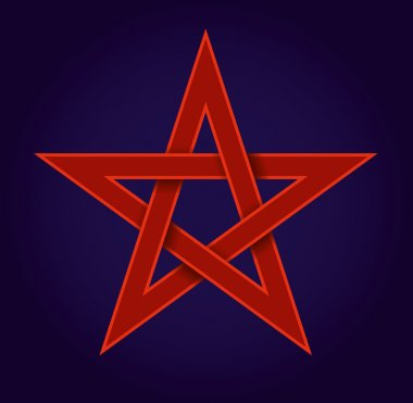 Red pentagram on blue background