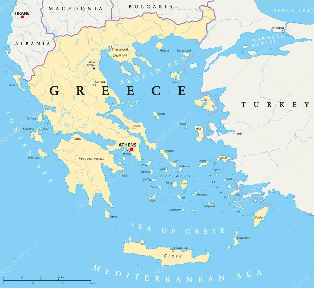 Karta Europa Grekland.Grekland Politiska Karta Stock Vektor C Furian 27672863