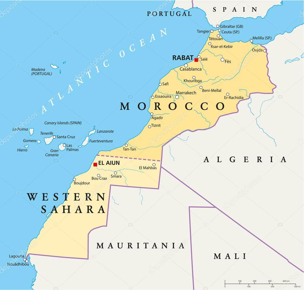 marokko und der westsahara karte stockvektor 29121601. Black Bedroom Furniture Sets. Home Design Ideas
