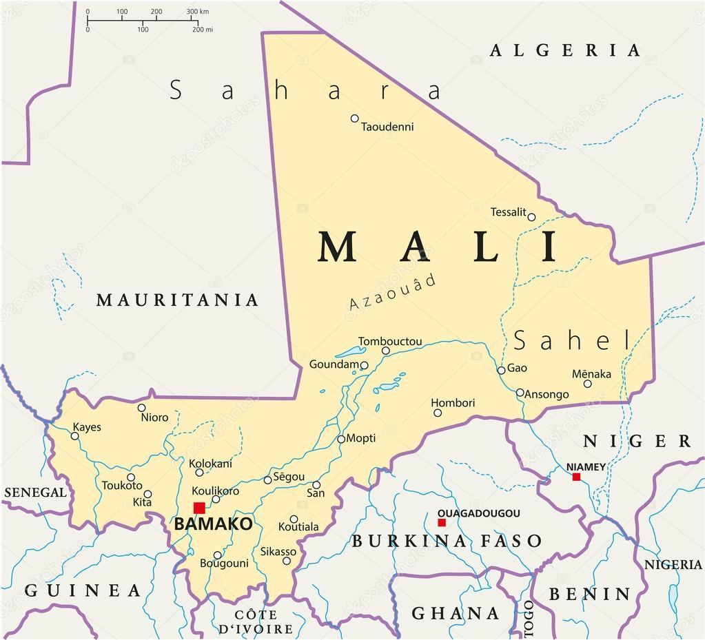 mali karta Mali politiska karta — Stock Vektor © Furian #29987711 mali karta