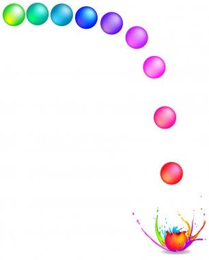 Splash of colored paintballs. Isolated vector on white background. clip art vector