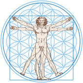 Photo Vitruvian Man In Flower of Life