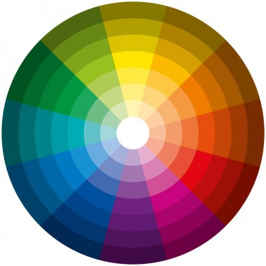 Twelve basic colors in a circle, graduated from the brightest to the darkest gradation. Isolated vectors on white background. stock vector