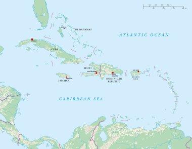 Caribbean Islands Political Map
