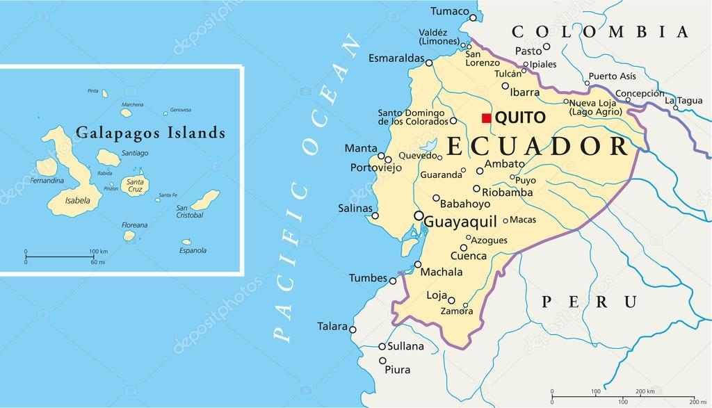 Ecuador And Galapagos Islands Political Map Stock Vector