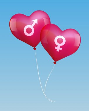 Balloons in Love with Male and Female Symbol