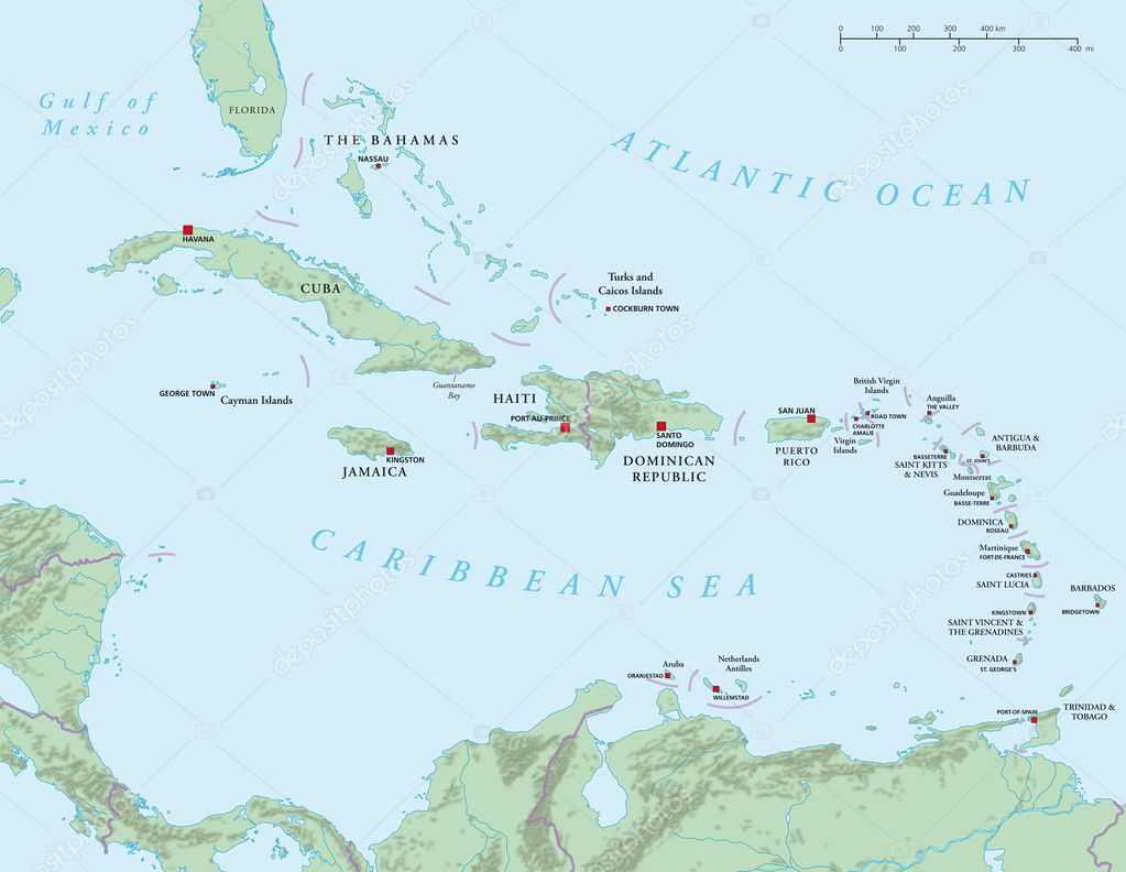 Caribbean - Large And Lesser Antilles - Political Map — Stock Photo ...