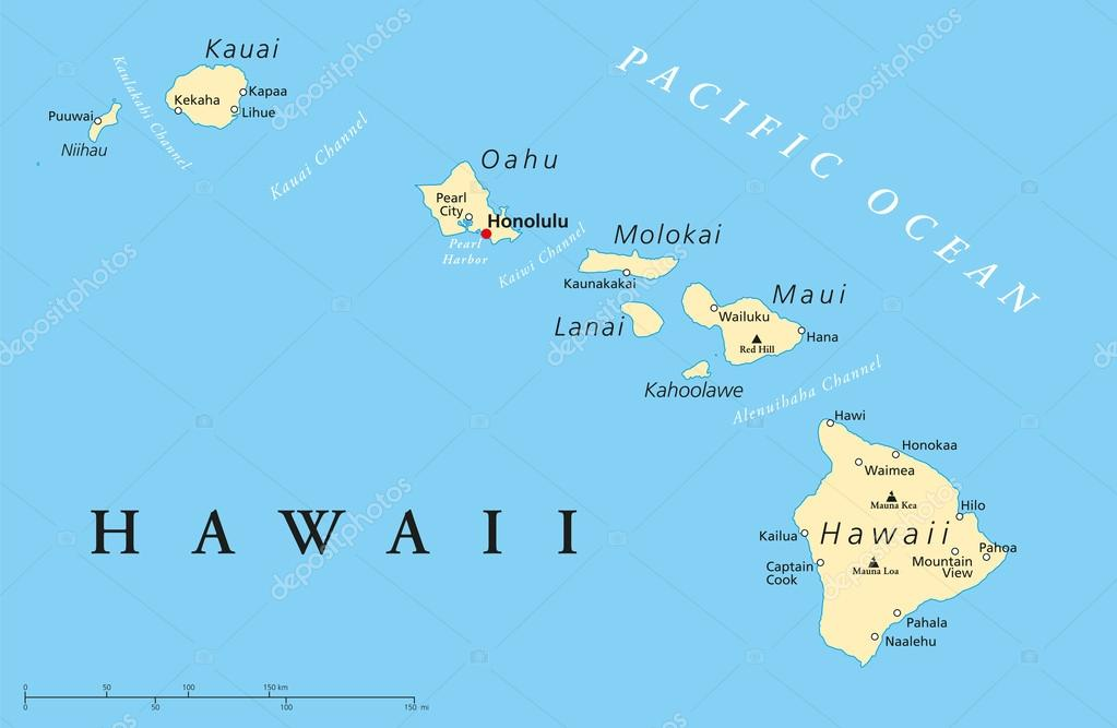 Hawaii islands political map stock vector furian 45737525 political map of hawaii islands with the capital honolulu with borders most important cities and volcanoes vector illustration with english labeling and gumiabroncs Image collections
