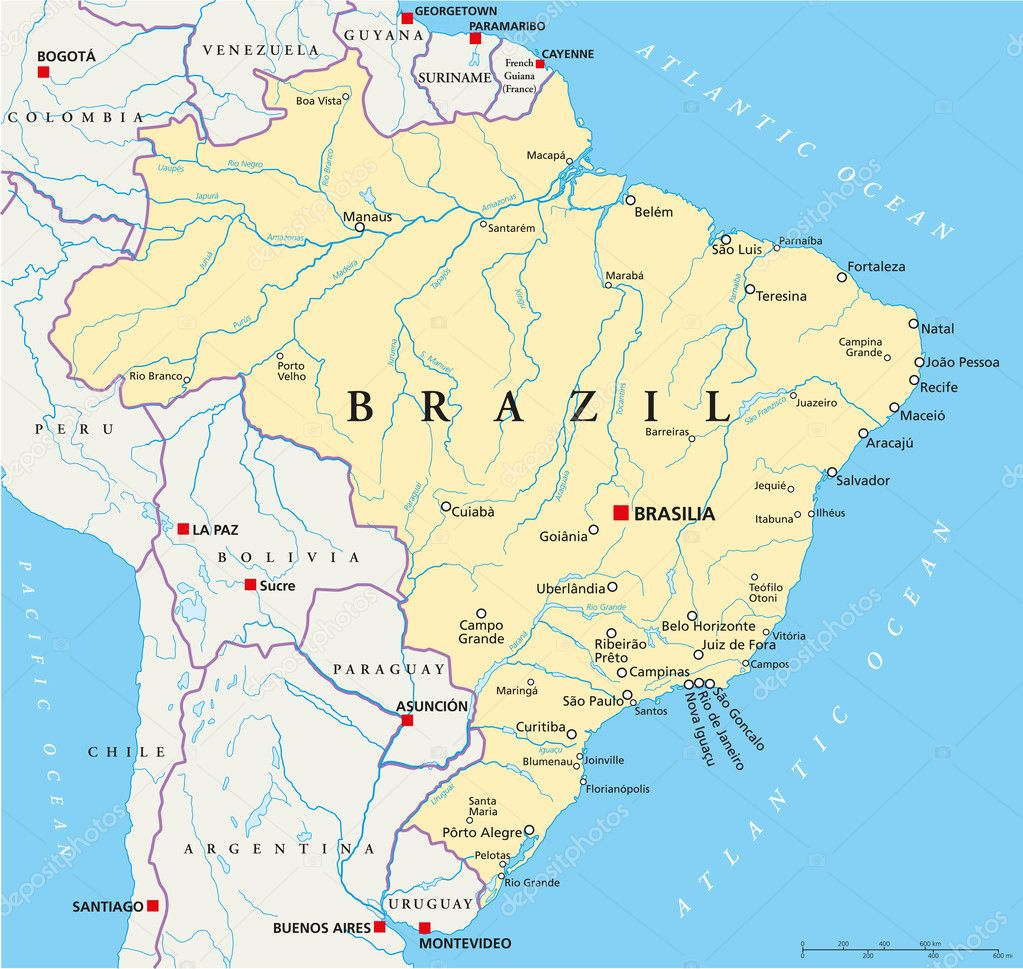 Brazil Political Map Stock Vector Furian - Map of brazil with cities