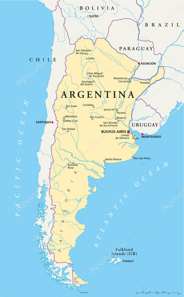 Argentina political map stock vector furian 47794027 political map of argentina with capital buenos aires national borders most important cities rivers and lakes vector illustration with english labeling gumiabroncs Images