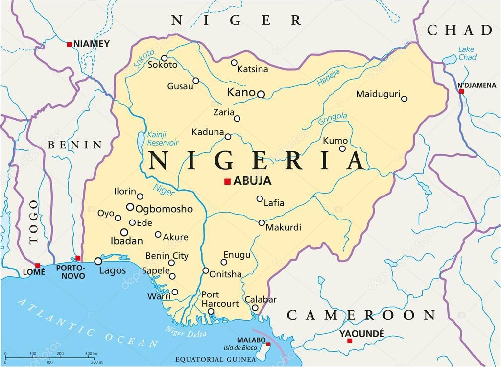 Nigeria Political Map Stock Vector Furian 47794191