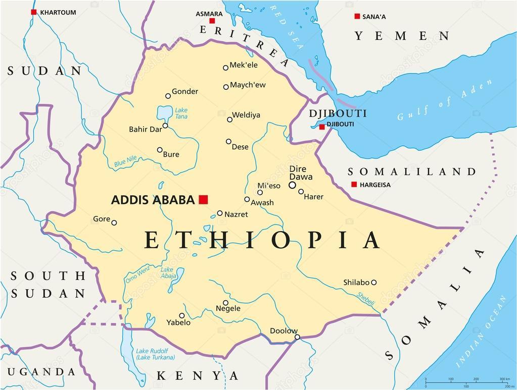 etiopien karta Etiopien politiska karta — Stock Vektor © Furian #50637497 etiopien karta