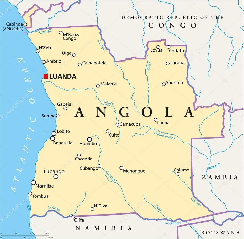 mapa dos rios de angola mapa político de Angola — Vetores de Stock © Furian #50903297 mapa dos rios de angola