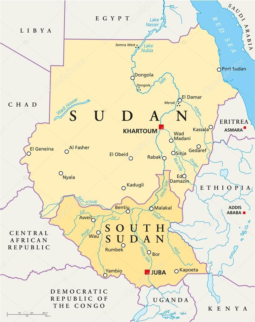 Sudan And South Sudan Political Map Stock Vector Furian - Sudan map download