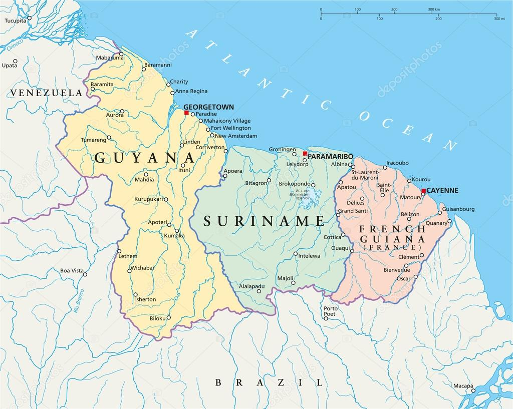 Guyana, Suriname and French Guiana Political Map — Stock Vector ...