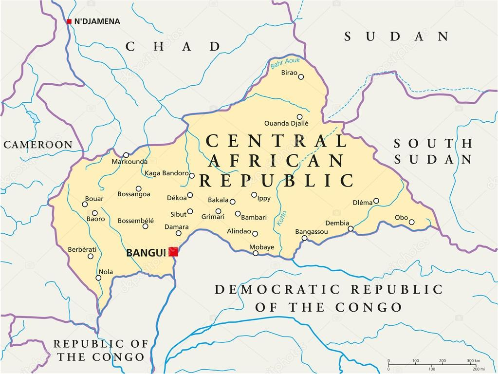Central African Republic Political Map Stock Vector Furian - Central africa map