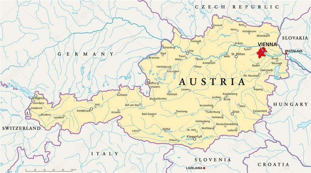 Osterrike Politiska Karta Stock Vektor C Furian 51058219