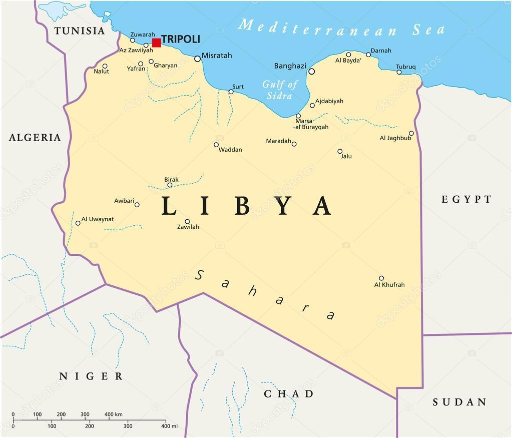 libia mapa mapa político de Libia — Archivo Imágenes Vectoriales © Furian  libia mapa