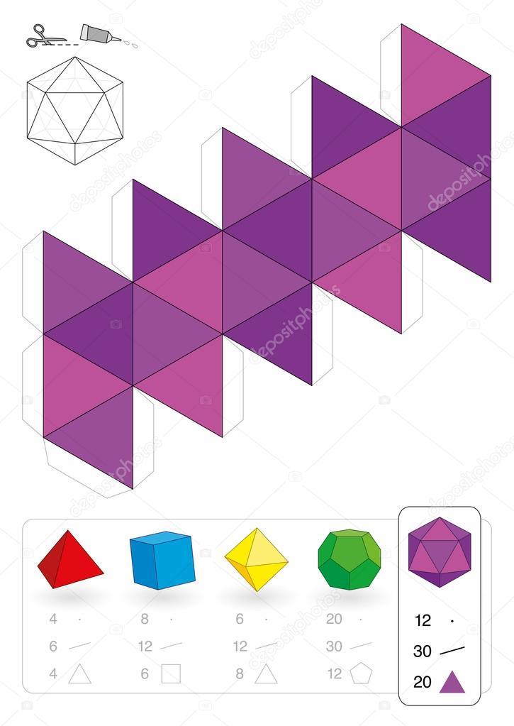 icosaedro de papel modelo — Vector de stock © Furian #51472619
