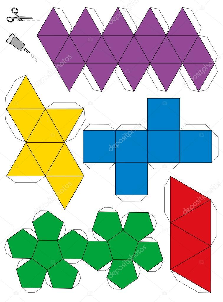 plantilla de modelo de papel de sólidos platónicos — Vector de stock ...