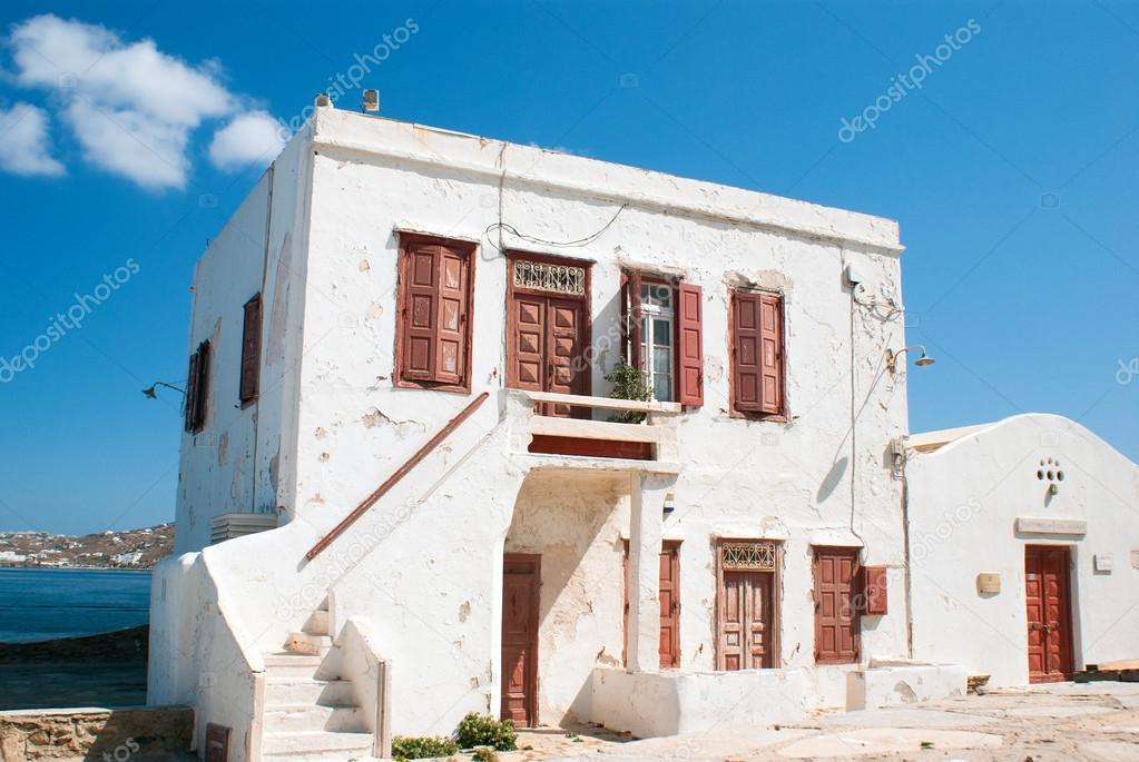 Old traditional greek house on mykonos island, Greece  Stock Photo  #27995525