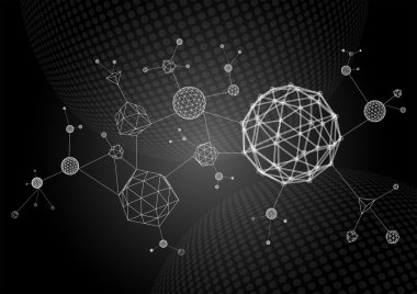 Abstract 3d wireframe molecules