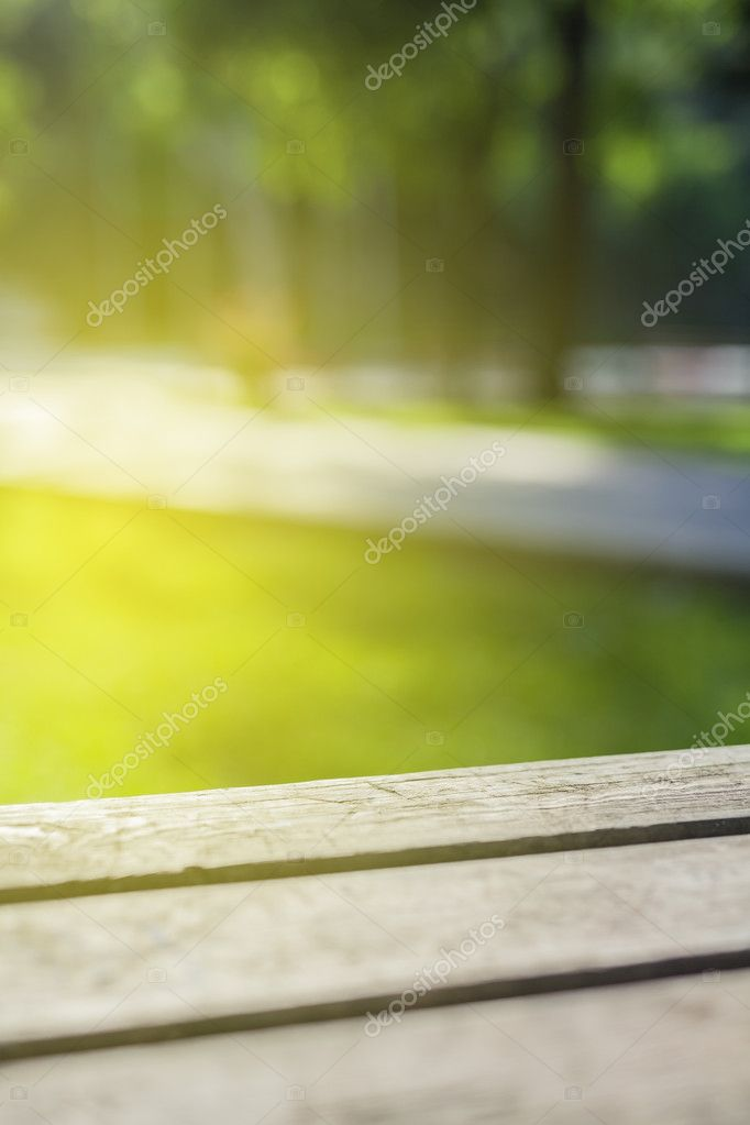 Picnic table closeup in park