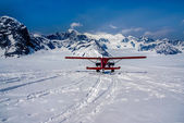 Snow Plane Landing on Ruth Glacier in Denali National Park, Alaska.