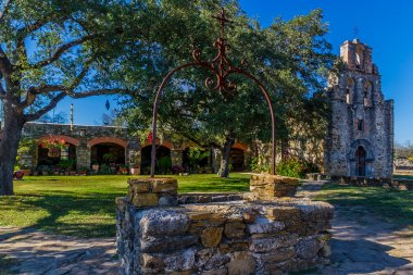 Full View of the Historic Old West Spanish Mission Espada, 1690, Texas.