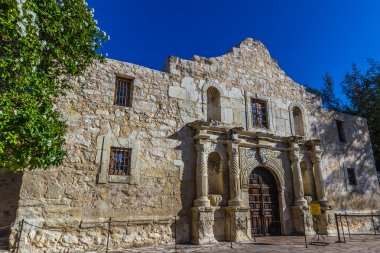 Interesting Perspective of the Historic Alamo Fortress, San Antonio, Texas.